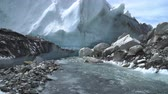 экспедиция : The Khumbu Glacier descends from Mount Everest. Nepal. 4K Стоковые видеозаписи
