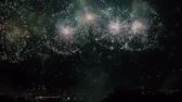 şenlik : Amazing Firework Show Russia Moscow. Accelerated Stok Video
