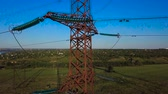 pilon : Aerial View of Electricity pylons. Fuel and power generation. 4K Stok Video