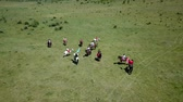 reconstruction : ZHEVTI VODY, UKRAINE - 06.08.2018: Aerial View. The battle between the Polish and Ukrainian troop. Medieval Reenactment