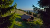 ovelha : Drone flies between trees over a green lawn and a wooden house. Beautiful green slope in the alpine mountains. 4K