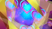 ziyafet : Shiny heart. Valentines Day. Background with a red hearts Stok Video