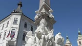 article : Robbov Vodnjak fountain in the center of Ljubljana Stock Footage