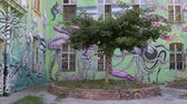 article : in view of wall paintings and scuptures in Metelkova quarter houses in Ljubljana