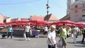croata : crowded open-air fruit and vegetable market in the center of Zagreb