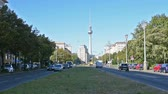 realista : view of the Karl-Marx-Allee in Berlin Stock Footage