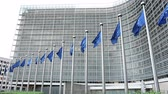 belga : The flags waving in front of the European Commission building in Brussels
