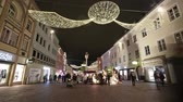 advento : Time lapse. A view of the Christmas decorations in the main street in Villach, Austria