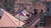 avrupa birliği : View of Czech flag waving on the roofs of Prague, Czech Republic