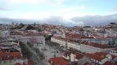 iv : The aerial view of Dom Pedro IV Square, also called Rossio in Lisbon, Portugal