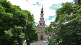 campanário : view of the trees and the Lutheran Church in Budapest, Hungary