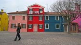 muren : view of the colors of houses in Burano island, Italy Stockvideo