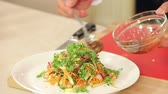 soja : Chef is Pouring Dressing into Freshly Cut Vegetable Salad, Organic Food, Healthy Nutrition Concept HD