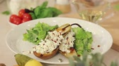 pazı : Presentation of Fresh Salad Mix and Grilled Pears Stuffed with White Cheese HD