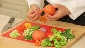 peeling onion : Peeling blanched tomatoes