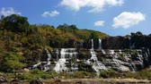 river : Big waterfall panorama. Scenery landscape of Pongour falls in Dalat, Vietnam Stock Footage