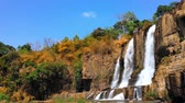 latão : Pongour waterfall in nature national park in Dalat, Vietnam. Mountain river cascade falls in rocky terrain environment Stock Footage