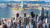 downtown : Hong Kong island and Kowloon city skyline at sunny day