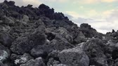 kamie�� : Volcanic lava rocks and grey ash in deserted land of volcano caldera