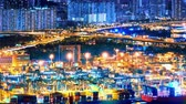 Commercial container port of Hong Kong at night. 4K Industrial motion background