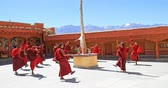 meditate : Sacred Buddhist dance performance in Ladakh monastery. Likir gompa event