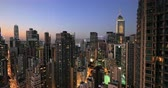 kuleleri : Hong Kong skyline at sunset. Modern city urban architecture cityscape panorama