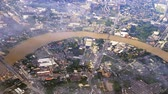 hava durumu : Chao Phraya River in Bangkok, Thailand from sky aerial view Stok Video