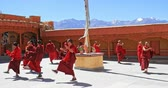 keşiş : Beautiful Buddhist culture dance event and religious ceremony. Likir, Ladakh Stok Video