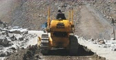 landslide : Road repairing in mountains of Ladakh region in north India