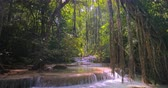 Thailand jungle forest nature background. Waterfall in rainforest and sun light rays shine through canopy