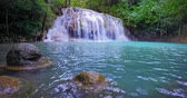 칸차나 부리 : Waterfall in paradise forest. Tropical jungle nature environment 무비클립