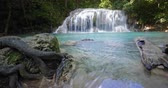 emerald water : Amazing waterfall in tropical forest. Beautiful nature of Thailand jungle