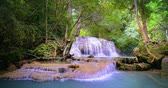 virgem : Tropical waterfall hidden in asian jungle forest Stock Footage