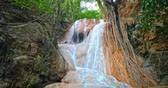 virgem : Waterfall cascade in tropical jungle. Water flow among tree roots and wet stones and rocks