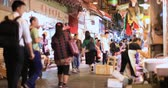 китайский квартал : Local market place in downtown of Hong Kong. People walk on street and do grocery shopping