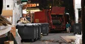 sorting : Waste and city garbage collection and disposal facility on street of Hong Kong at night