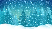 сочельник : Snowfall in the Spruce Forest, Winter Snowy Night, Icy Snowstorm, Snowflaces and Snowdrift , HD Video Animation Footage