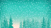 cartão de natal : Snow Falls on the Spruce, Snowfall in the Forest, Fir Trees in Winter , Christmas Winter Landscape in Turquoise Shades, HD Video Animation Footage Vídeos