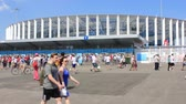 Nizhny Novgorod, Russia - June 24, 2018: It is one of the cities of the World Cup 2018 in Russia. People near Nizhny Novgorod stadium before the match