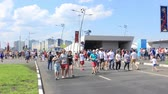 Nizhny Novgorod, Russia - June 24, 2018: It is one of the cities of the World Cup 2018 in Russia. People rush to the stadium before the match
