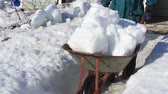 марш : Man frees snow from on country house at the end of winter. March