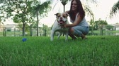 бульдог : Slow motion shot of a woman playing with an American Bulldog in backyard while smiling Стоковые видеозаписи