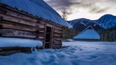 outdoor pursuit : Sunrise in the winter in a mountain valley 4k timelapse Stock Footage