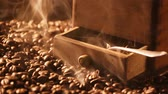 Coffee Grinder with freshly milled grains Stock Footage