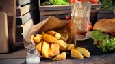 paper : Delicious takeaway burger with cold drink and fries