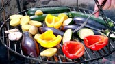 foods : Roasted vegetables on the grill with fire Stock Footage