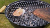 slices : Grilled bell salmon on the grill with hot coals