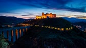здание : Dusk over beautiful castle in Preci Italy Umbria Стоковые видеозаписи