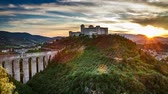 colinas : Dusk over beautiful castle in Preci Italy Umbria Stock Footage