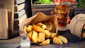 byliny : Delicious takeaway burger with cold drink and fries